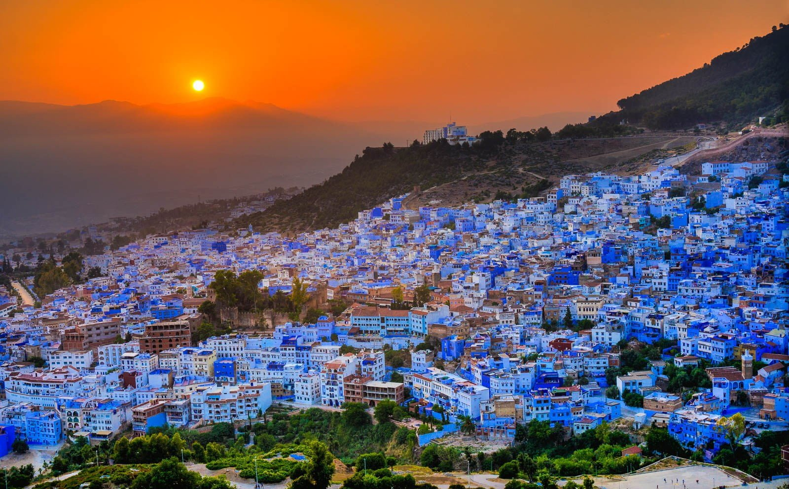 Sunset above Chefchaouen Morocco from Spanish Mosque.
