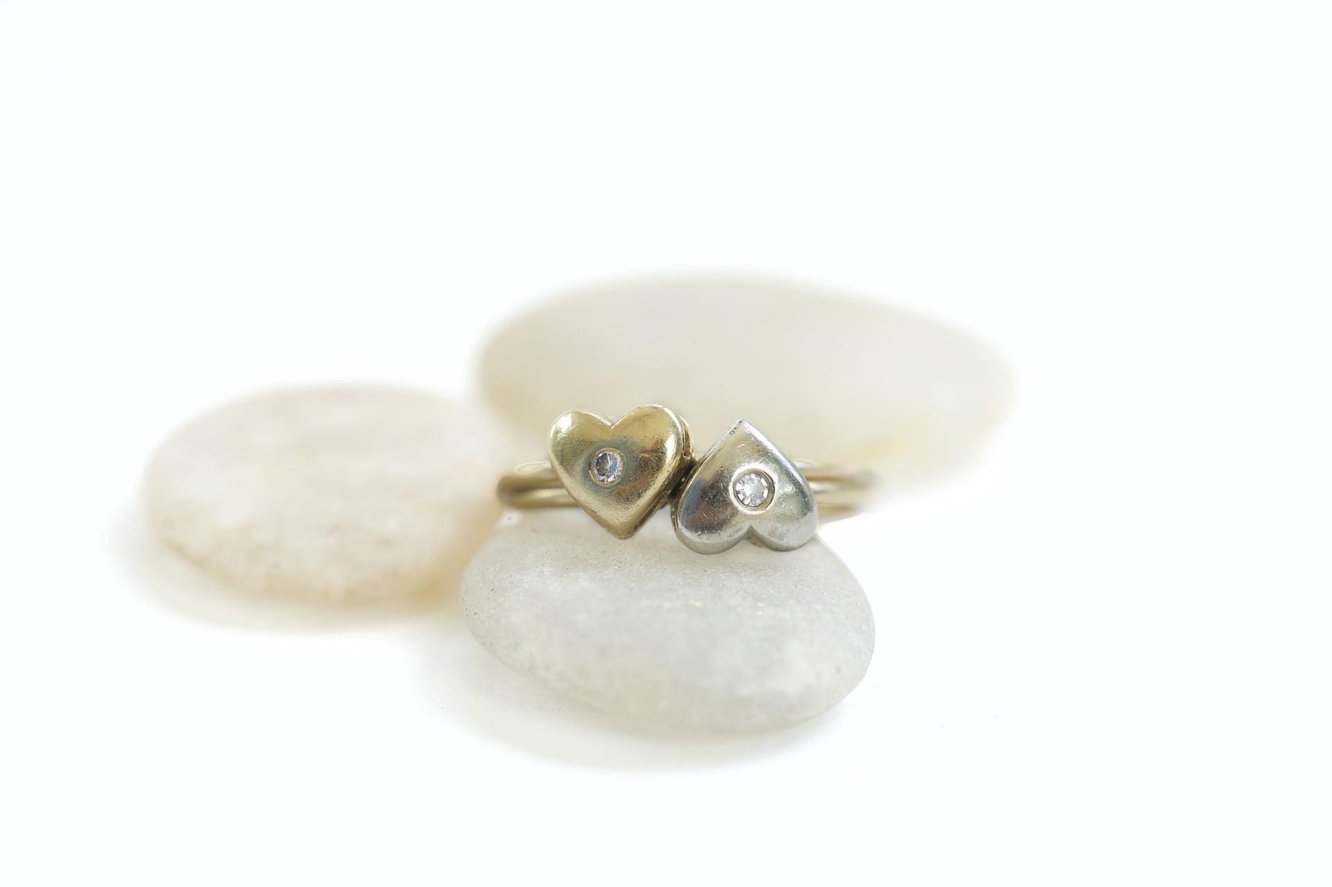 Heart stone rings