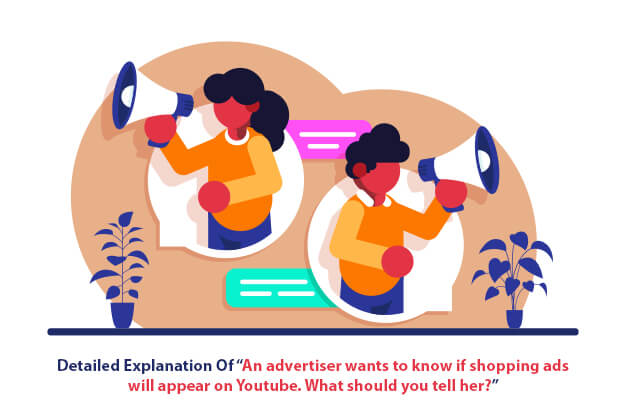 """Detailed Explanation Of """"An advertiser wants to know if shopping ads will appear on Youtube. What should you tell her?"""""""